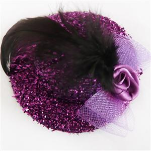 Purple mini Top Hat, Sequin Rose Mini Top Hat, Mini Top Hat, #J7342