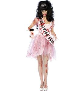 Zombie Queen Costume, Repulsive Miss Living Dead Costume, Bloody and Tattered Prom Halloween Dress, #N9173
