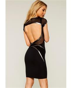 Quontum Short Strap Dress, Black Backless Wrap Strap Dress, Black Wrap Strap Dress, #N8605