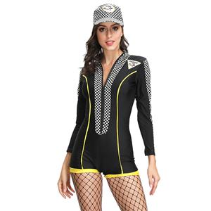 Sexy Racer Girl Check Print Long Sleeve Stretchy Bodysuit Cosplay Costume with Cap N19125