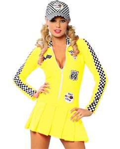 Referee Costume, Racer Girl Costume, yellow Racer Girl Costume, #N1371
