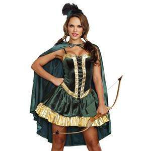 sexy Robin Hood lady Costume, adult Robin Hood halloween Costume, Robin Hood Adult Medieval Huntress Costume,  #N11911