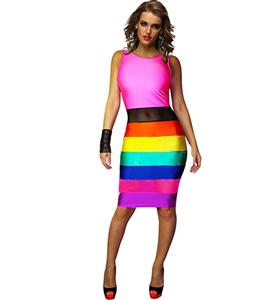 Sleeveless Print Color Stitching Midi Dress, Colorfull Striped Pencil Dress, Round Neck Color Block Bodycon Dress, #N8797
