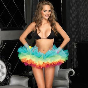 Colorful Ballet Skirt, Rainbow Tiered Dance Skirt, Rainbow Organza Tutu Petticoat Skirt, #HG9138