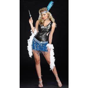 Razzle Dazzle Me Costume, Blue and Silver Flapper Costume, Sequin Flapper Costume, #N4764