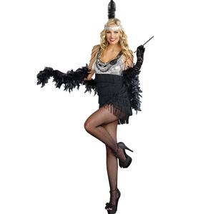 Flapper Costume, Razzmatazz Costume, Silver Sequin Flapper Costume, Fringe Flapper Girl Costume, #N7899