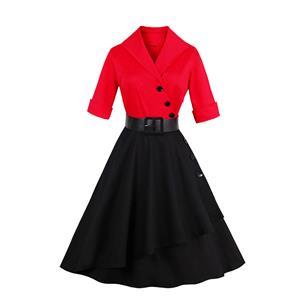 Half Sleeve Dress, Red Black Swing Dress, Vintage Dress for Women, Fashion Dresses for Women Cocktail Party, Casual tea dress, Swing Dress, #N14199