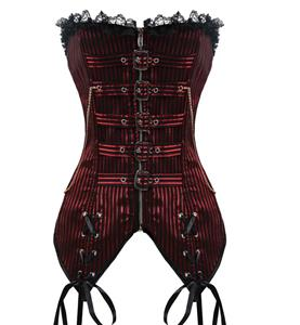 Steampunk Red Brocade Stripe Lace Trim Zipper Overbust Corset N10418