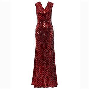 Cap Sleeve V Neck Dress, Red Sequins Dress, Mermaid Maxi Dress, Red Sheath Long Dress, Women
