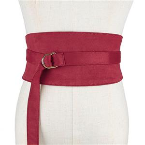 Red Wasit Belt, High Waist Cinch Belt, Alloy Buckle Elastic Wasit Belt, Wide Waist Cincher Belt Red, Elastic Wide Waistband Cinch Belt, Elastic Waist Cincher Belt for Women, #N18445
