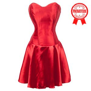Red Flared Corset Dress N9170