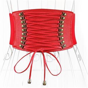 Tied Wasit Belt, High Waist Corset Cinch Belt, Steampunk Wasit Belt, Waist Cincher Belt Red, Lace Up Wide Waistband Cinch Belt, #N14791