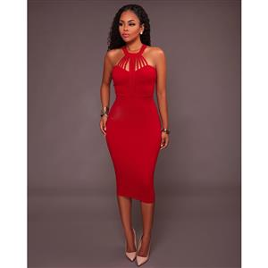 Red Sleeveless Midi Dress, Halter Neck Bodycon Dress, Red Women