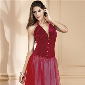 Halter Red Velvet Corset, Red Velvet corset, Halter Red Corset, #N5191