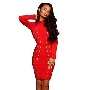 Red Long Sleeve Dress, High Neck Bodycon Dress, Red Women