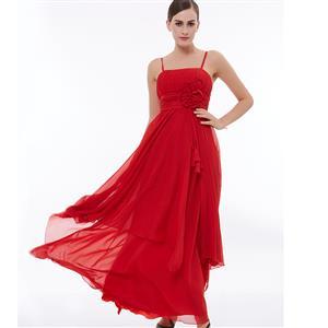 Sleeveless Spaghetti Straps Evening Gowns, Red High Waist Ruched Evening Dress, Sleeveless Asymmetry A-Line Dress, Women