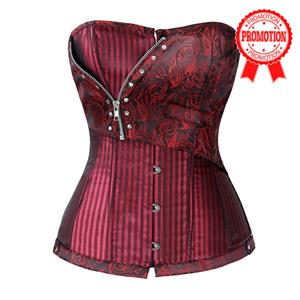 Red Jacquard Stripe Corset, Jacquard Stripe Corset With Zip, Jacquard Stripe Steampunk Corset, #N6182