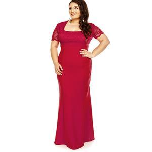 Maxi Dresses for Women, Square Neck Plus Size Maxi Dress, Plus Size Maxi Dress,  Lace Splicing Plus Size Maxi Dress, Slim Fit Maxi Dress, Fashion Red Plus Size Party Dresses, #N16024