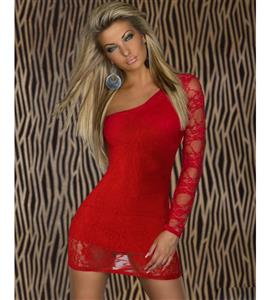 long sleeves one shoulder dress, Red Lace mini dress, one-shoulder lace Red dress, #N5737