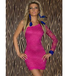 Lace One Arm Mini Dress, Lace Party Dress, one-shoulder lace dress, #N5738