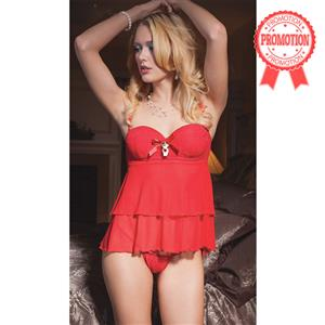 Red Layered Babydoll and G-String N4745