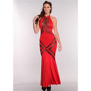 Mesh Cut Out Maxi Dress, Maxi Dress Red, Halter Neckline Maxi Dress, #N6614