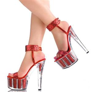 Clear high heels Sandals, red high heels, Clear shoes, #SWH10001
