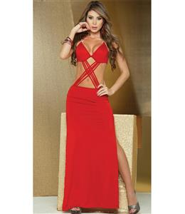 Long Strappy Front Gown, Red Multi Strap Gown, Red Strappy Front Gown, #N8236