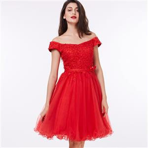 Red Off The Shoulder Dress, Appliques Lace-up Midi Dress, Red Lace-up A-Line Dress, Women