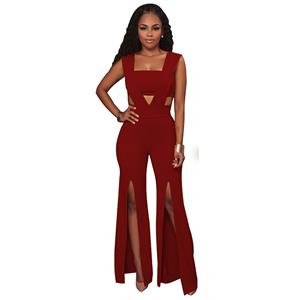 Sexy Sleeveless Strapless Jumpsuit, Red Slim Fit Bellbottoms Jumpsuit, Bodycon Split Jumpsuit, Sleeveless High Waist Jumpsuit, Fashion Bandeau Patchwork Jumpsuit for Women, #N16310