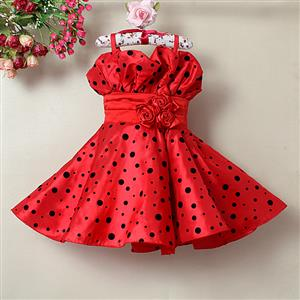 Black Dot Printed Red Dress, Spaghetti Straps Dot Princess Dress, Sleeveless Rose Embellish Party Girl Dress, #N9119