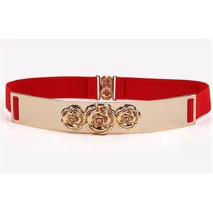 Luxury Metal Waist Belt, Rose Metal Red Waist Belt, Vintage Waist Belt Red, Waist Belt for Women, Fashion Dress Waist Belt, Elastic Girdle for Women, #N17002