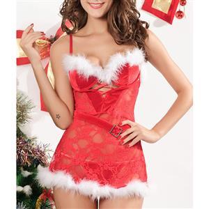 Sexy Sheer Lace Padded Bra Furry Christmas Santa Girl Mini Dress Chemise XT19956