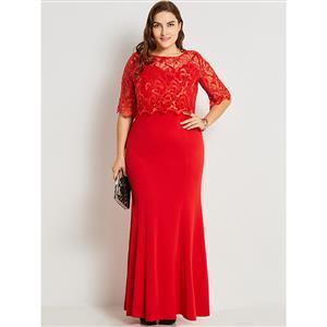 Maxi Dresses for Women, Round Neck Plus Size Maxi Dress, Plus Size Maxi Dress,  Lace Splicing Plus Size Maxi Dress, Slim Fit Maxi Dress, Fashion Red Plus Size Party Dresses, #N16019