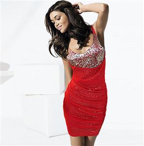 Sexy Halter Hanging Neck Dress, Red Sequin Party Dress, Red Club Party Dress For Women, #N6917
