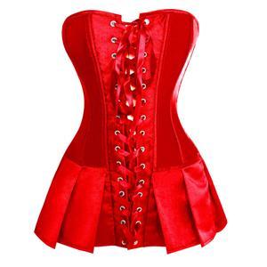 Red silk satin body shaper, satin basque corseted skirt, Red Satin Skirted Corset, Christmas Corset, #N5688
