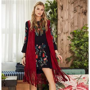 Red Long Sleeveless Waistoat, Women