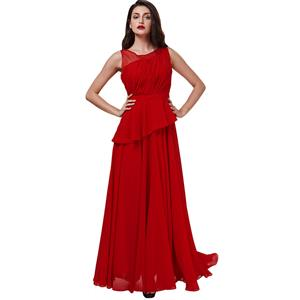 Sleeveless Round Neck Dress, Red Pleated Long Dress, Women