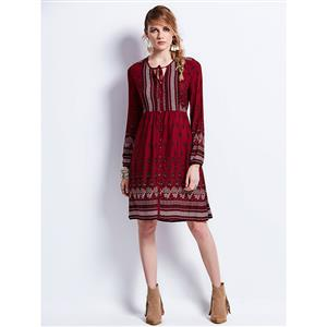 Midi Dresses, Casual Dresses For Women, Daily Dresses, Loose Style Dresses, V Neck Lace Up Dress, #N14411