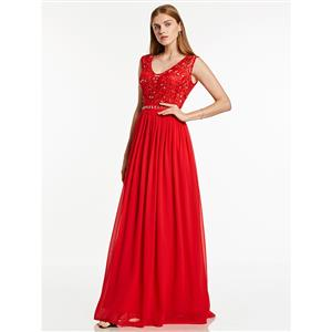 Sexy Evening Gowns, Floor-Length Evening Gowns, Red Prom Gowns, Red Sleeveless Evening Dress, Chiffon Evening Dresses, Beaded Evening Dresses, Wedding Guest Dress, #N15859