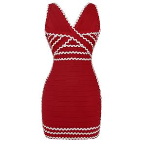 Sexy Bandage Dress for Women, Fashion Bandage Dresses, Bodycon Bandage Party Dress,V Neck Bandage Dress, Women