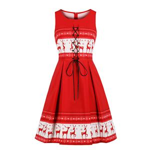 Red-white Retro Round-neck Reindeer Snowflake Christmas Element Lace-up Front Sleeveless High Waist Midi A-dress N18275