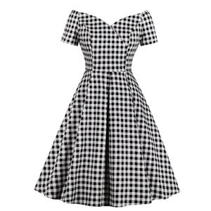 Retro Black and White Check Pattern Off Shoulder Short Sleeves High Waist A Line Swing Dress N18651