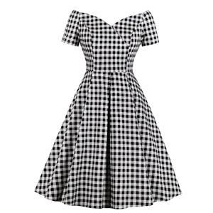 Fashion Black and White Check Pattern Dress, Retro Dresses for Women 1960, Vintage Dresses 1950