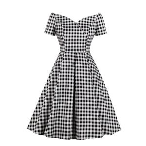 Fashion Black and White Checkered Pattern Dress, Retro Dresses for Women 1960, Vintage Dresses 1950