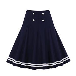 Daily Casual Mini Skirt, OL Midi Skirt, Cute Swing Skirt, Yarn Skirt, Elastic Skirt, Vintage Swing Skirt, Yarn Fabric Double-breasted Skirt, Girl