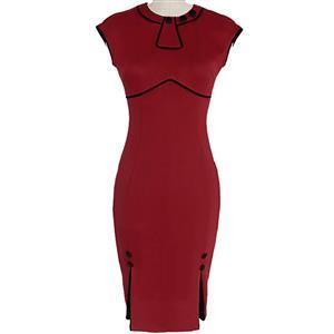 Vintage Red Bodycon Midi Dress N12097
