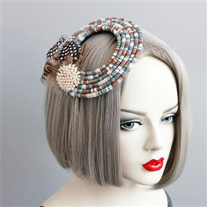 Retro Hairclip, Cosplay Costume, Cosplay Accessory, Vintage Hat, Pearl Feather Hat, Ethnic Style Ring Hat, #J18807