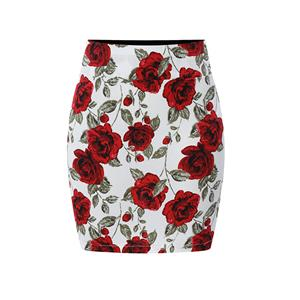 Floral Print Skirt, High Waist Skirt, Midi Skirt Bodycon, Office Skirts, Fitting Skirt, Pencil Skirt, Package Hip Skirt, Retro Skirt #N17702