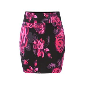 Floral Print Skirt, High Waist Skirt, Midi Skirt Bodycon, Office Skirts, Fitting Skirt, Pencil Skirt, Package Hip Skirt, Retro Skirt #N17709